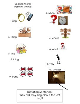 ell spelling picture vocabulary list ng/wh digraphs
