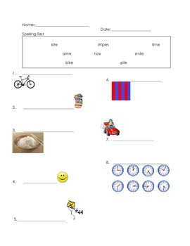 ell spelling picture vocabulary long i.silent e test