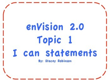 """enVision Math 2.0 Topic 1 """"I can"""" statements Grade 1"""