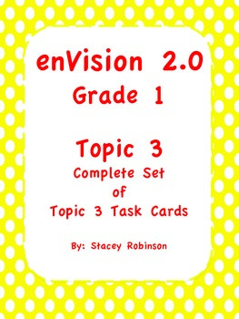 enVision Math 2.0 Topic 3 Complete Set Task Cards Grade 1