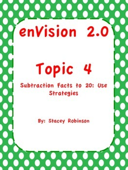 enVision Math 2.0  Topic 4   Grade 1  BUNDLE
