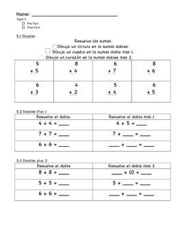 enVision Math Grade 1, Topic 5 Pre/Post-Assessment - Spanish