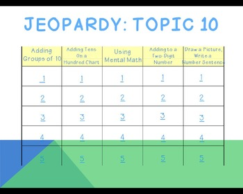 enVision 2011 Topic 10 Jeopardy for 1st Grade