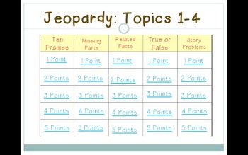enVision 2011 Topics 1-4 Jeopardy for First Grade