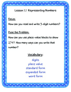 enVisions Grade 3 Topic 1-- Focus, Pose the Problem, and v