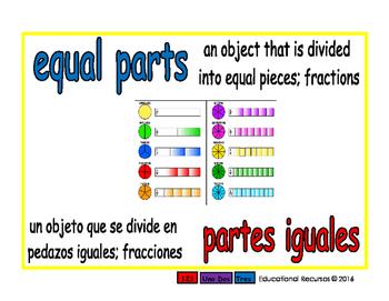 equal parts/partes iguales meas 1-way blue/rojo