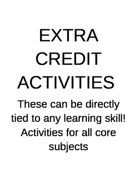 extra credit/extension activities
