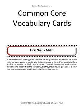 first grade grade common core standards vocabulary cards Math ELA