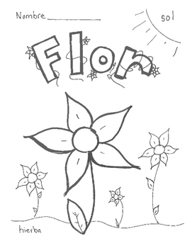 flor - flower Spanish vocabulary sheets and coloring page
