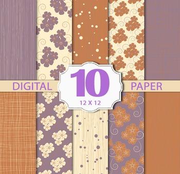flower Digital Paper Pack, flower Stripe Digital Paper