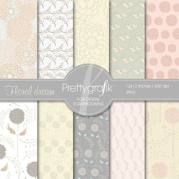 flowers digital paper, commercial use, scrapbook papers, b