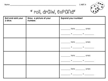 *free* Roll, Draw, Expand-- Place Value Game