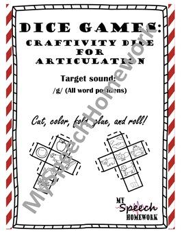 /g/ Articulation Dice Craft - initial, medial, & final
