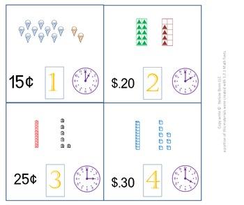 K, 1st, or 2nd Grade Math Calendar - Time, Money, Tens and Ones