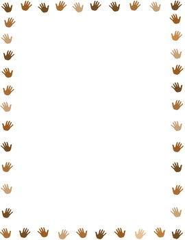 hands in multiple colors border