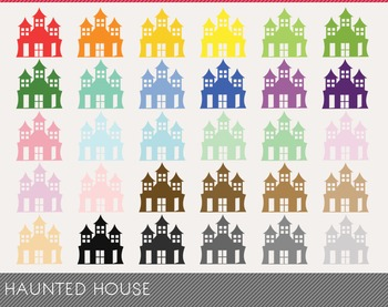 haunted house Digital Clipart, haunted house Graphics, hau