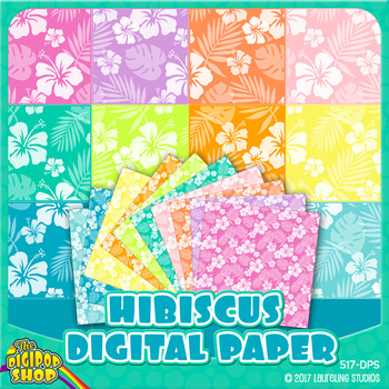 hibiscus digital paper background - printable for summer,