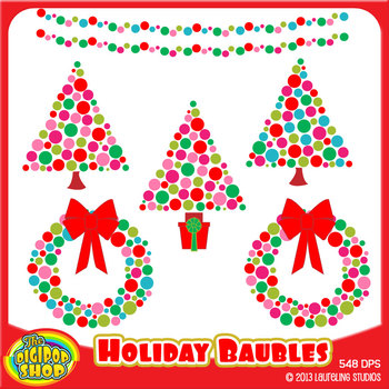 holiday clip art with baubles/Christmas trees/wreath