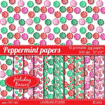 holiday digital paper with peppermint pattern; 10 .jpg fil