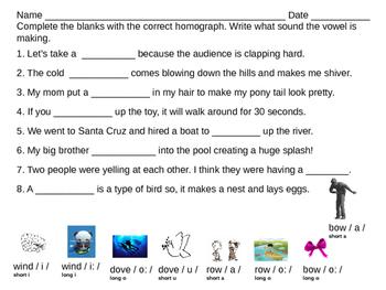homographs fill in the blanks