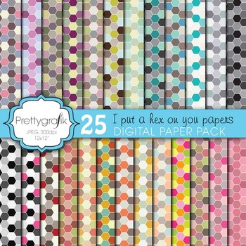 honeycomb hexagonal digital paper, commercial use, scrapbo