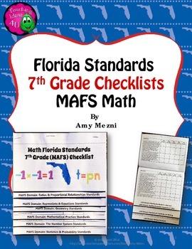 Florida Standards MAFS Math Mathematics 7th Grade Checklis