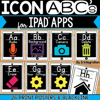 iPad Alphabet Cards of Frequently Used iPad Icons - White