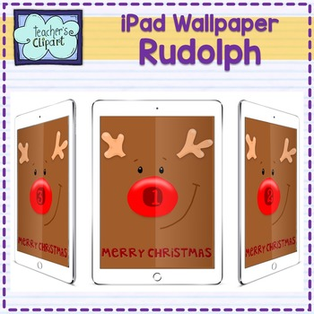 iPad Number Wallpaper (Rudolph the red nosed reindeer) - f