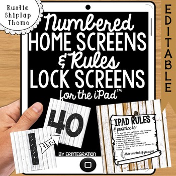 iPad Rules & Numbered Background Screen Images:  Rustic Sh