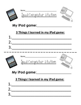 iPad/Computer Station Response Sheet