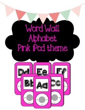 iPod Themed Word Wall Headers - Pink