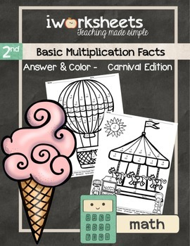 Basic Multiplication Facts - Color-by-Answer Worksheets