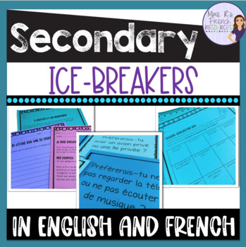 French and English ice breakers for French class - back to