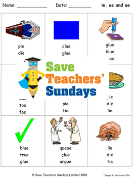 ie, oe and ue phonics lesson plans, worksheets and other t