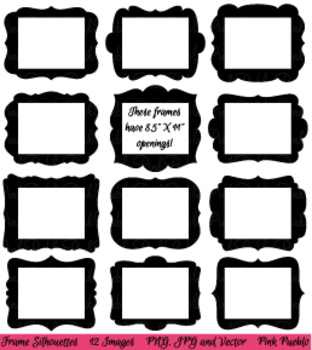 """Digital Picture Frames Clipart with 8.5"""" x 11"""" Openings"""