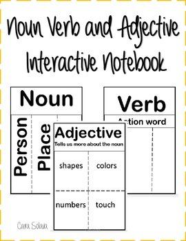 interactive notebook: nouns, verbs, adjectives