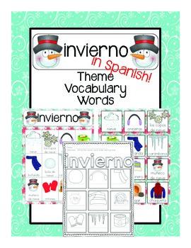 invierno Vocabulary Cards (SPANISH)