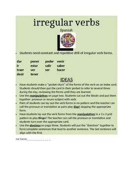 irregular verbs activities SPANISH