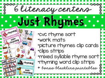 just rhymes: 6 literacy centers