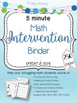 5 Minute k-2 Math Intervention Binder {{NO PREP}}