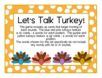 Turkey Talk /k & g/ cards: Speech Intervention, Phonologic