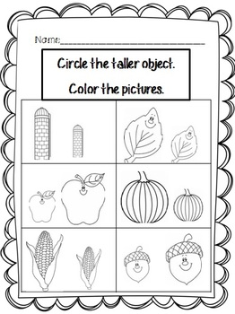 kindergarten Measurement and Data Center- Fall Theme