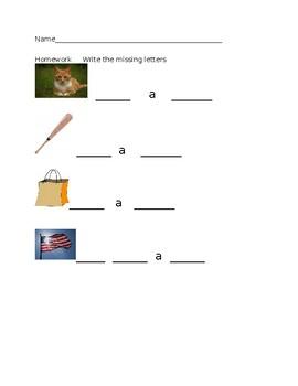 kindergarten cvc letter practice