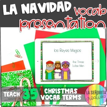 la Navidad Vocab Powerpoint with Pictures and Vocab List (