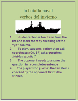 la batalla naval Q & A Spanish Winter vocabulary