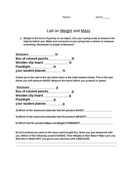 lab on weight and mass