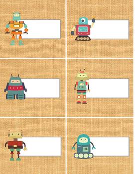 Robot themed labels - trendy tan burlap background - 81/2x