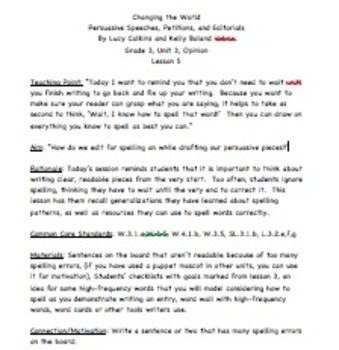 lesson 5/ Changing the World Gr3 Unit of Study