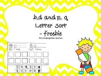 letter sort b,d, and p,q -Freebie