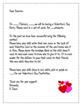 letter to parent for valentine's day